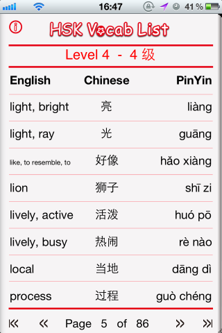 HSK Level 4 Vocab List